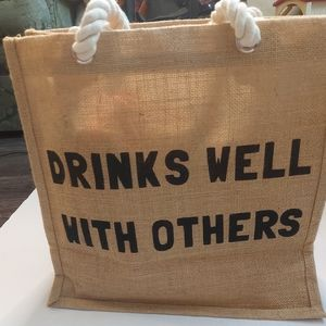 Drinks Well With Others Nautical Wine Carrier Bag